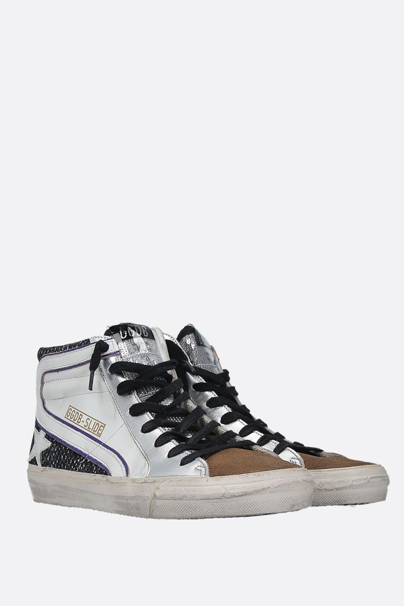 GOLDEN GOOSE DELUXE BRAND: Slide smooth leather and glitter high-top sneakers Color Multicolor_2
