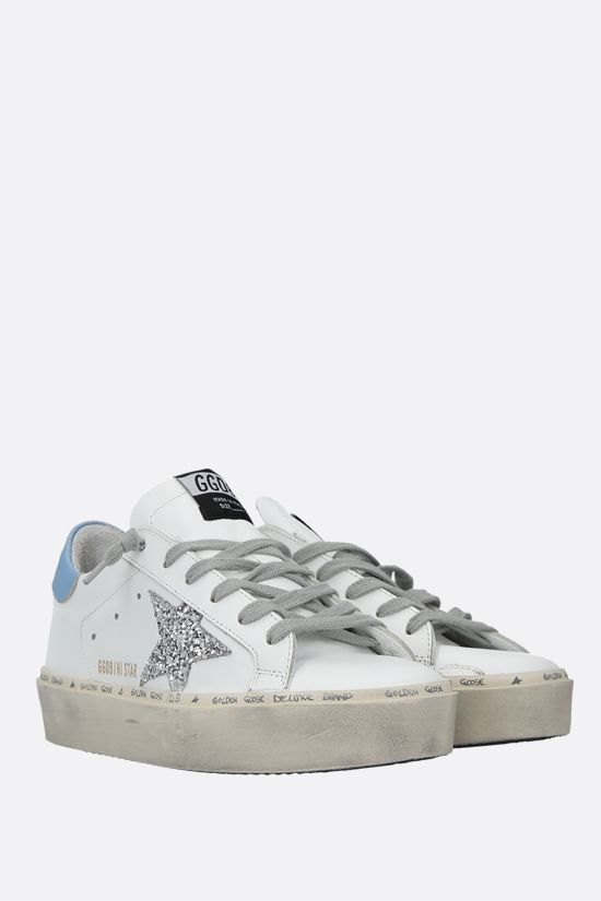 GOLDEN GOOSE DELUXE BRAND: Hi Star smooth leather flatform sneakers Color White_2