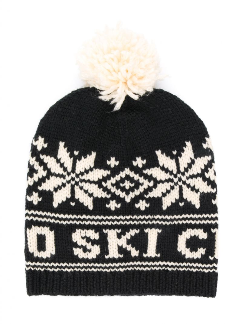 RALPH LAUREN KIDS: snowflakes intarsia wool blend beanie Color Black_1