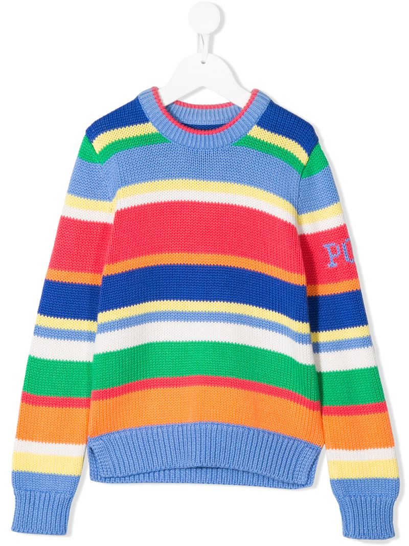 RALPH LAUREN KIDS: striped cotton pullover Color Blue_1