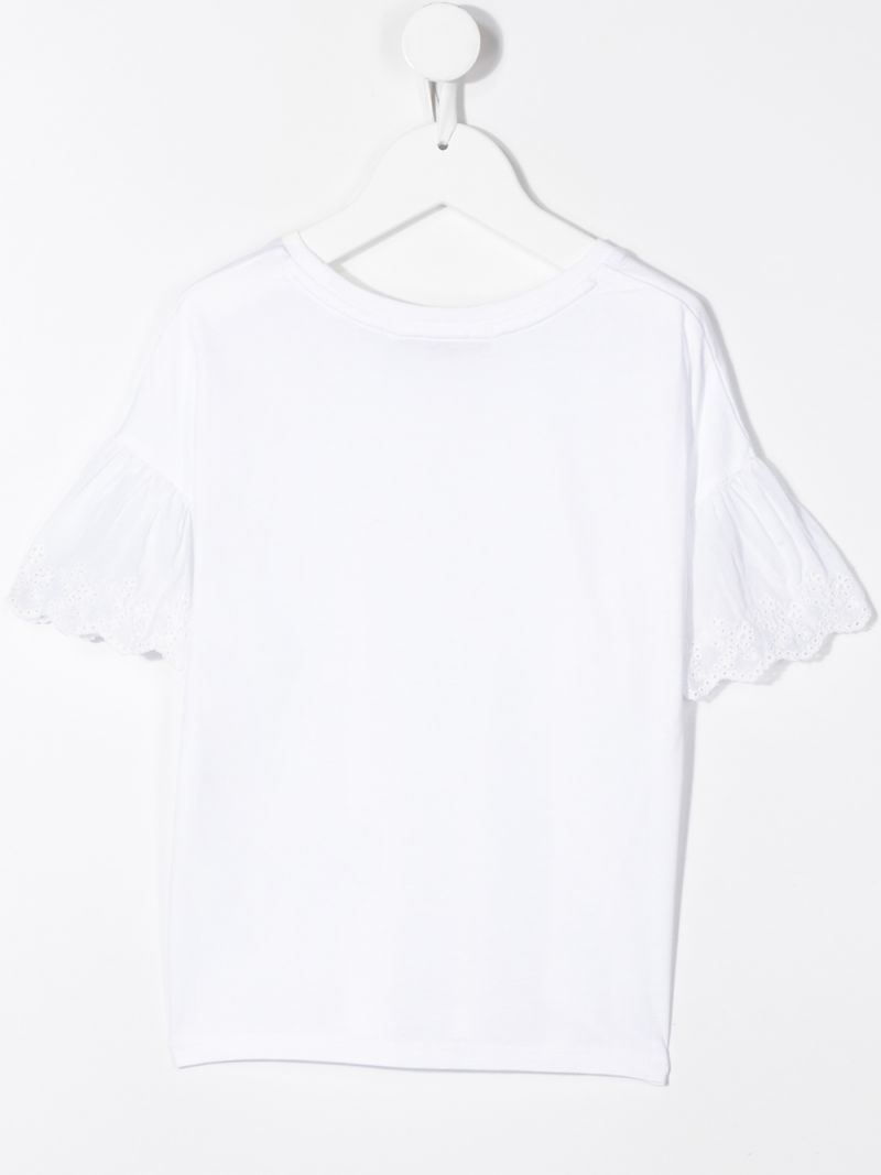 RALPH LAUREN KIDS: cotton blend t-shirt with broderie anglaise inserts Color White_2
