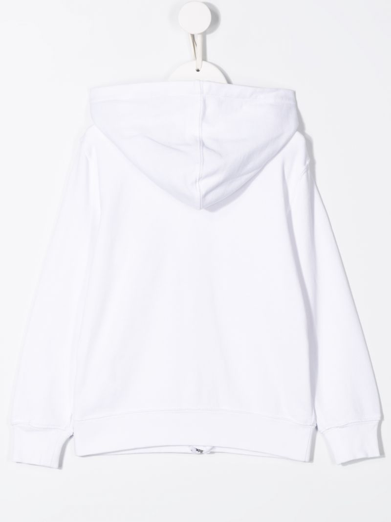 RALPH LAUREN KIDS: Big Pony embroidered jersey hoodie Color White_2