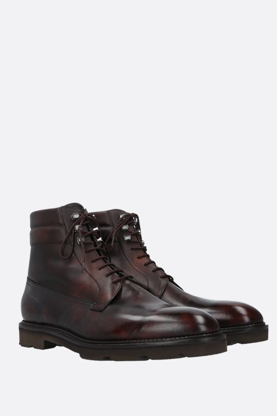 JOHN LOBB: Alder shiny and grainy leather ankle boots Color Brown_2
