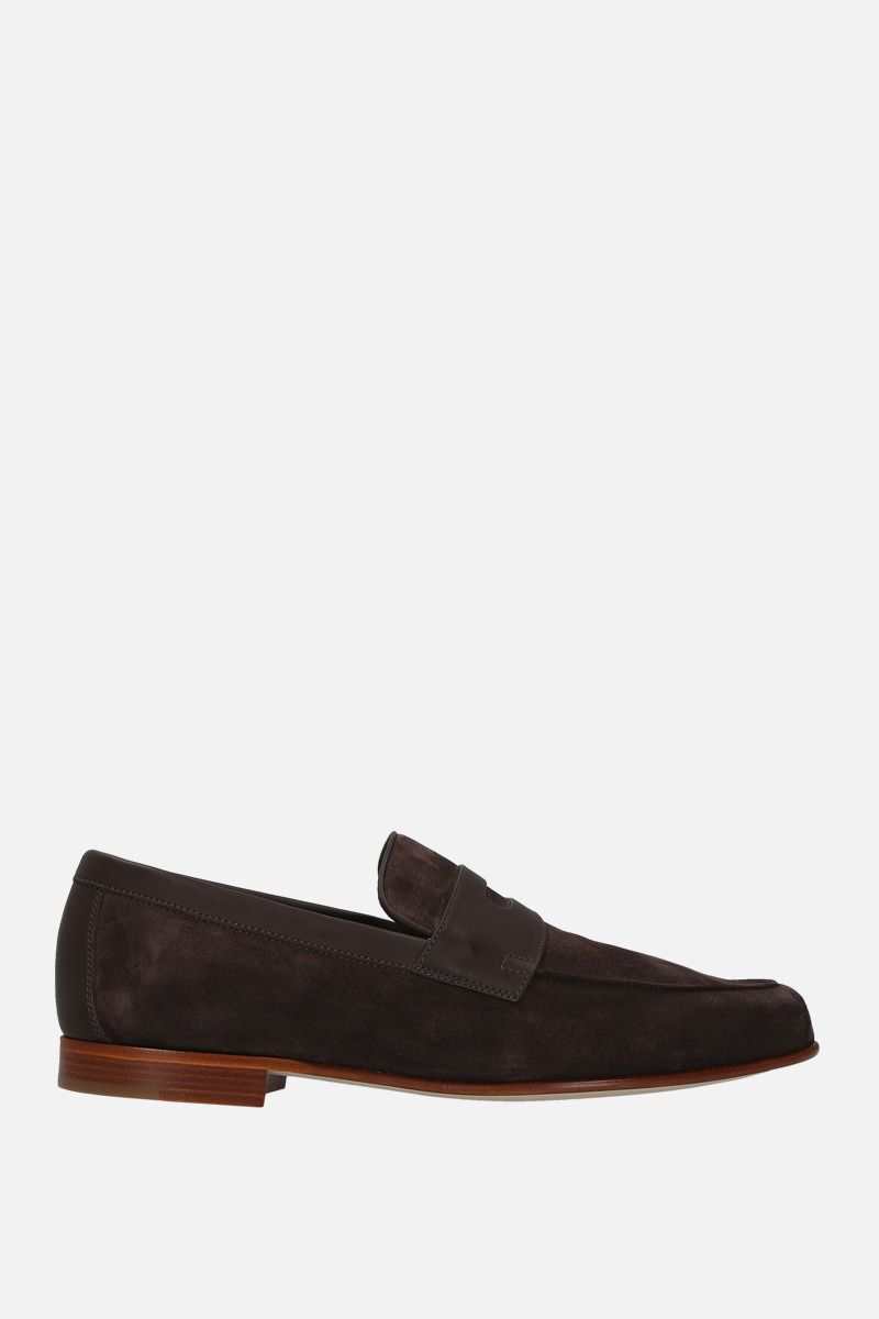 JOHN LOBB: Hendra suede loafers Color Brown_1