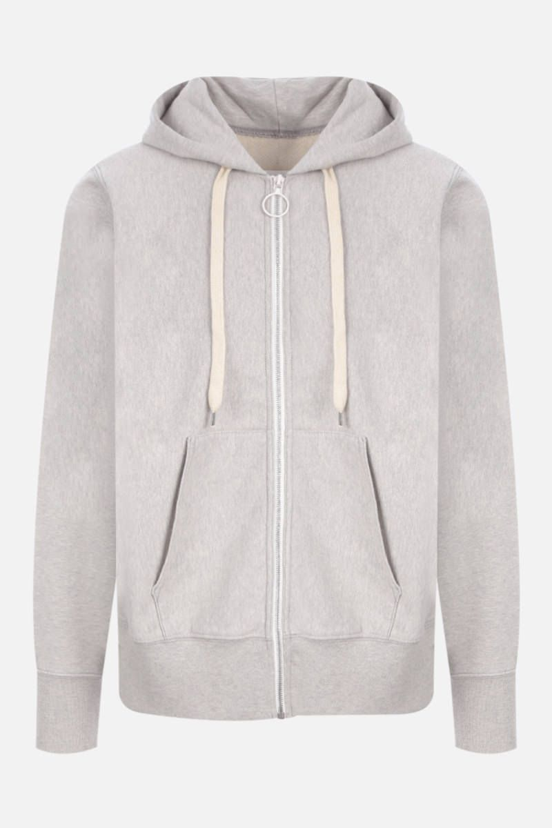 MAISON MARGIELA: embroidered full-zip cotton hoodie Color Grey_1