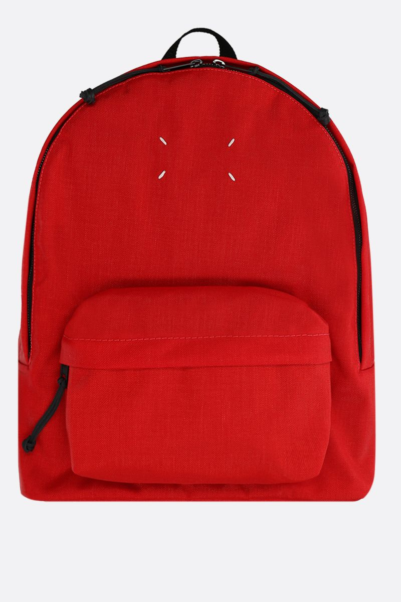 MAISON MARGIELA: badge holder-detailed nylon backpack Color Red_1