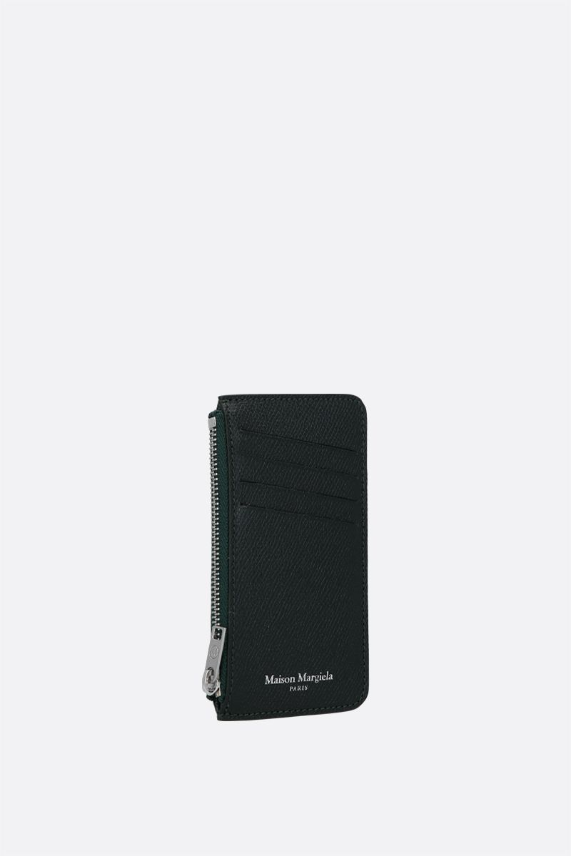 MAISON MARGIELA: smooth and textured leather zipped card case Color Green_2