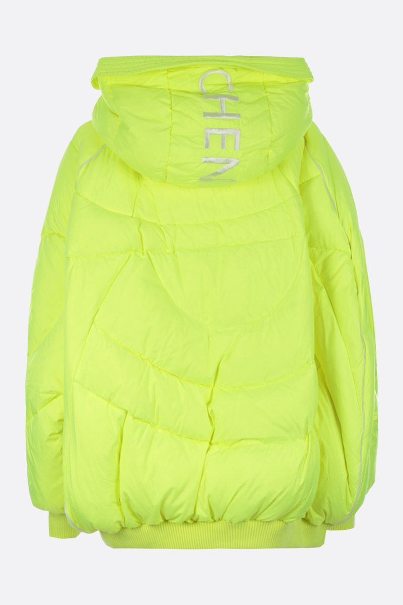 CHEN PENG: oversized down jacket in technical fabric Color Yellow_2
