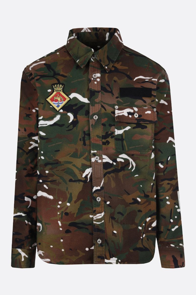 HERON PRESTON: camouflage print cotton shirt Color Green_1