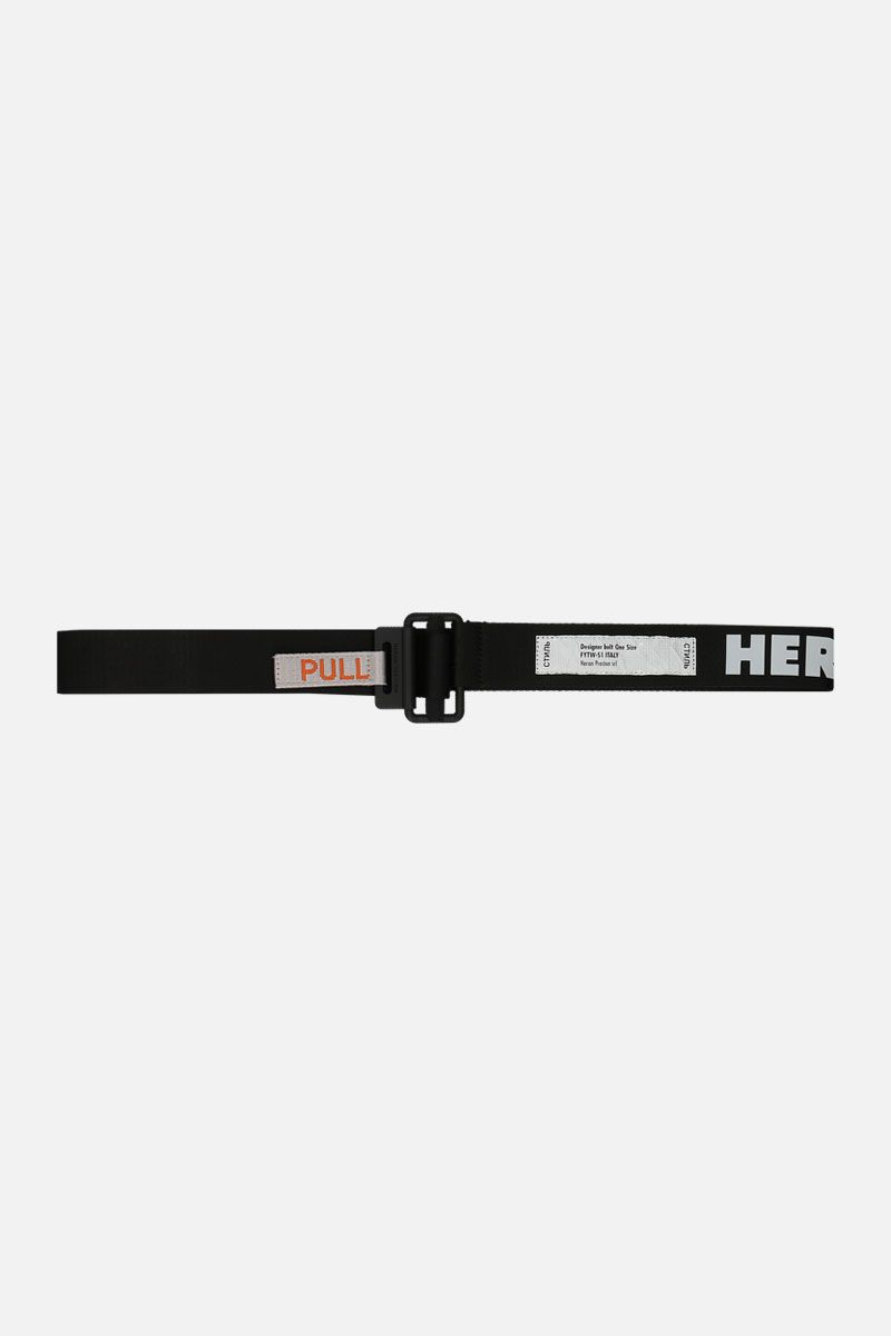 HERON PRESTON: Tape belt in logoed fabric Color Black_1