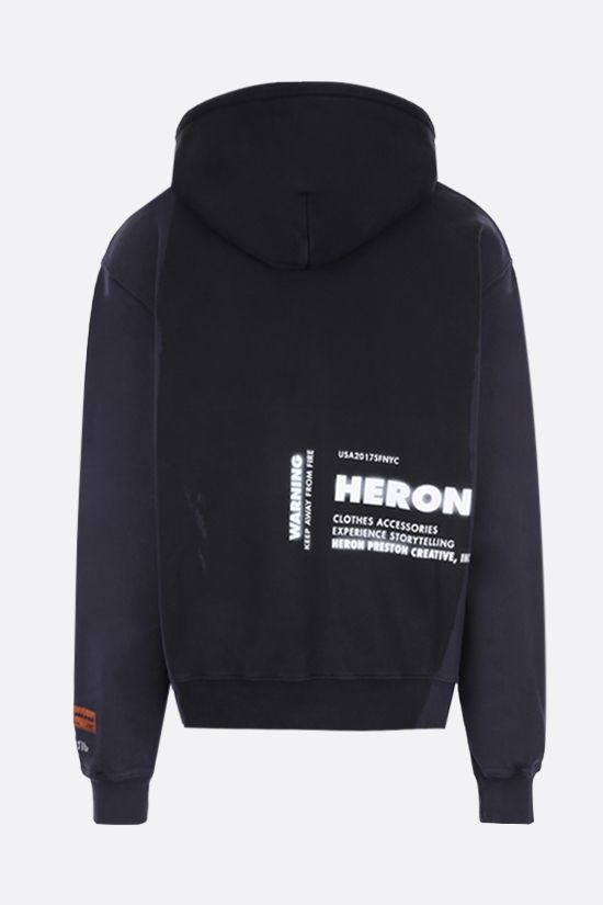 HERON PRESTON: HP x Caterpillar oversize cotton hoodie Color Black_2
