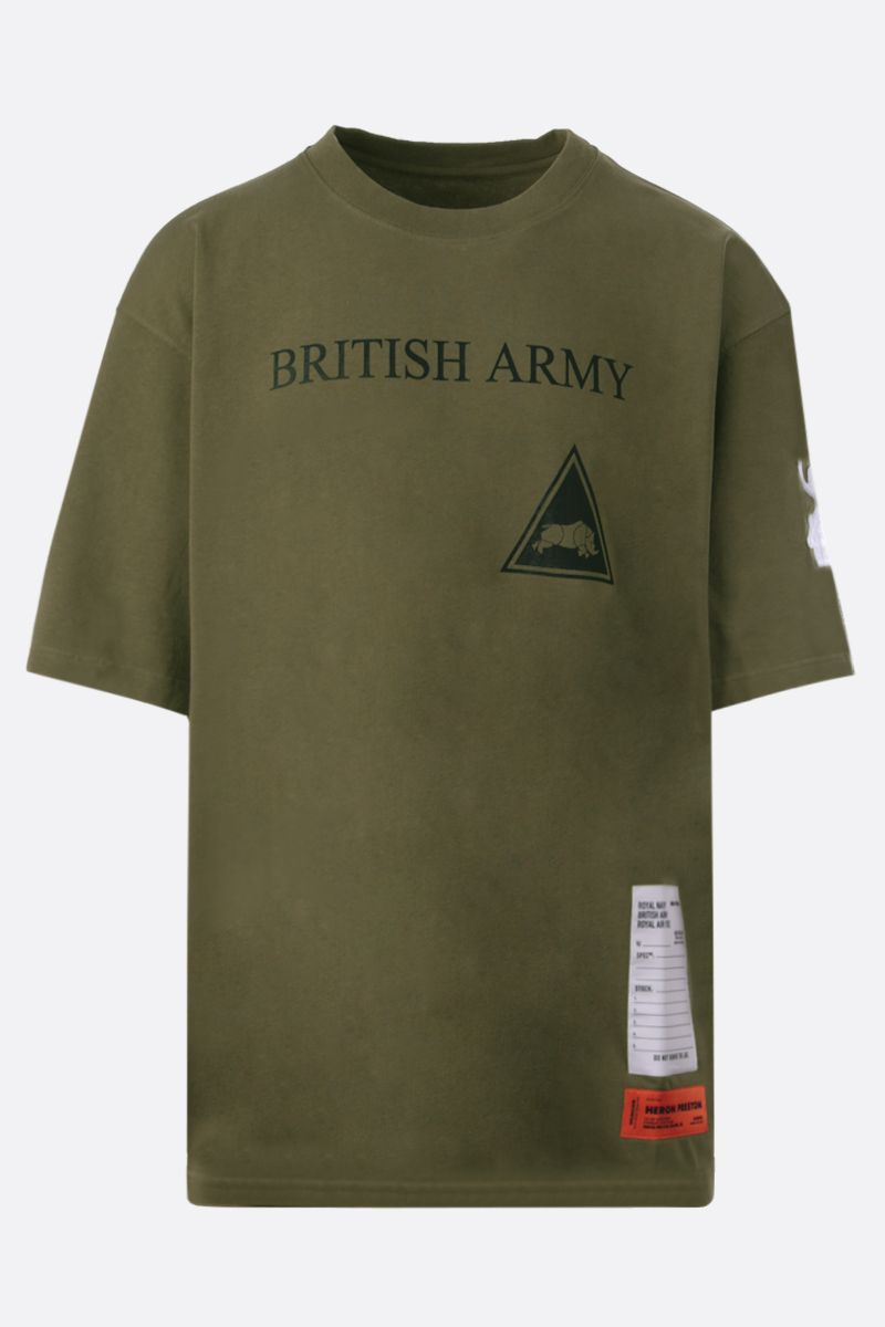 HERON PRESTON: t-shirt oversize in cotone stampa British Army Colore Verde_1