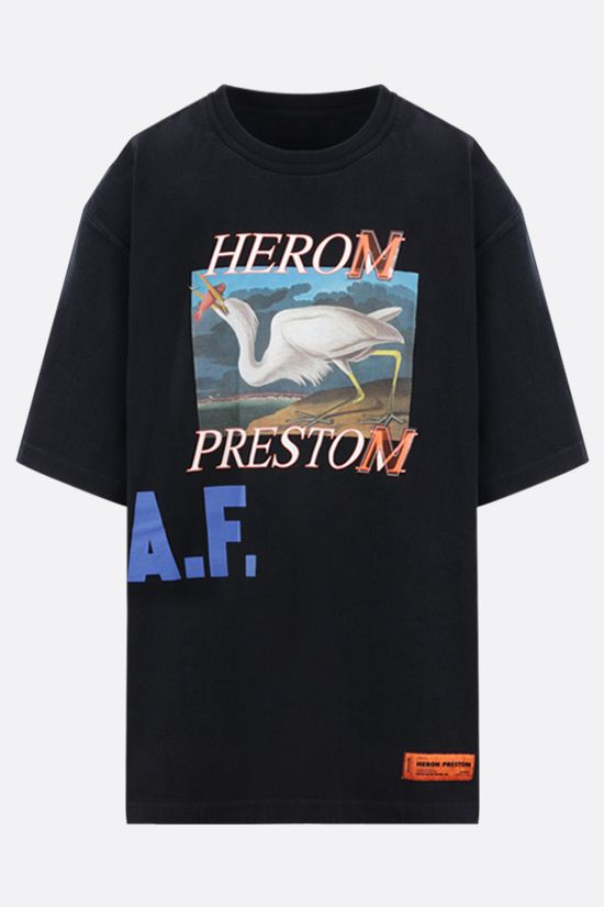 HERON PRESTON: A.F. oversize cotton t-shirt Color Black_1
