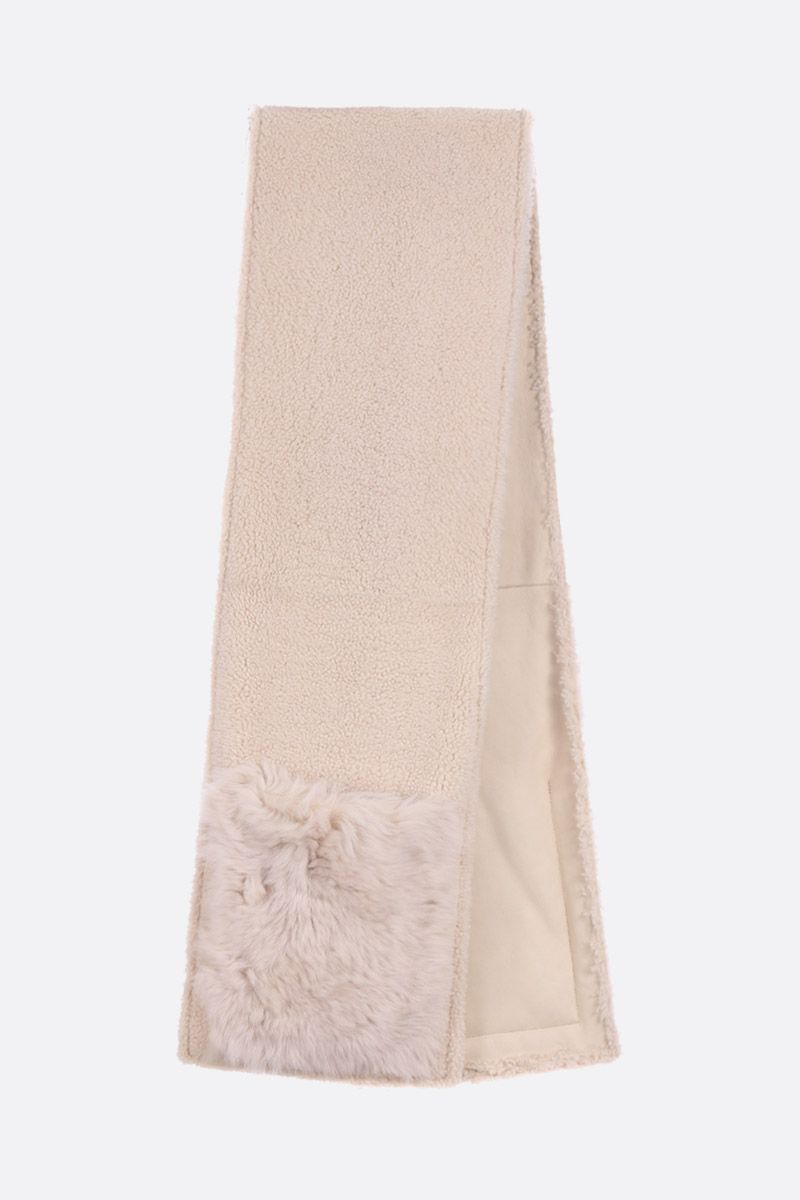 YVES SALOMON: soft shearling scarf Color White_2