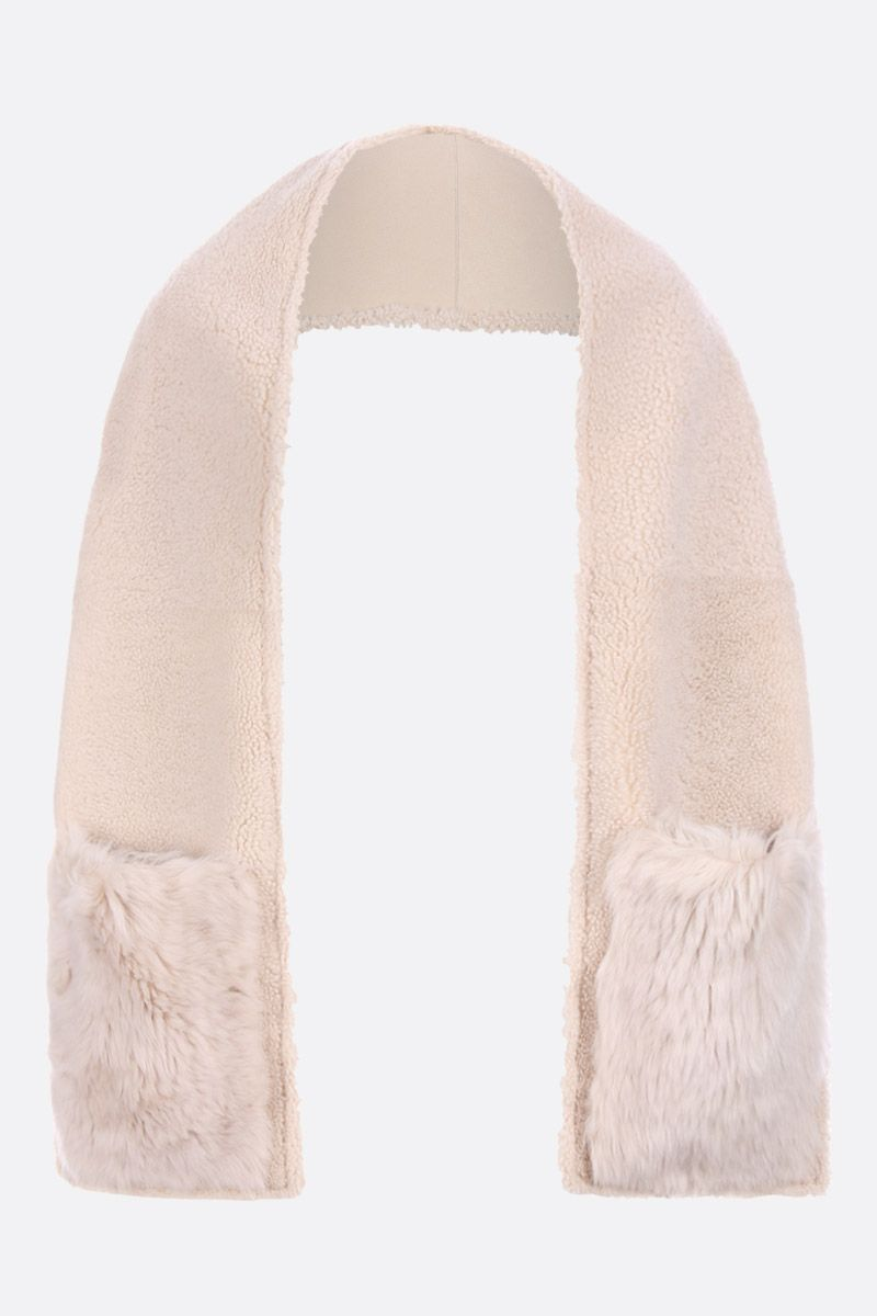 YVES SALOMON: soft shearling scarf Color White_3