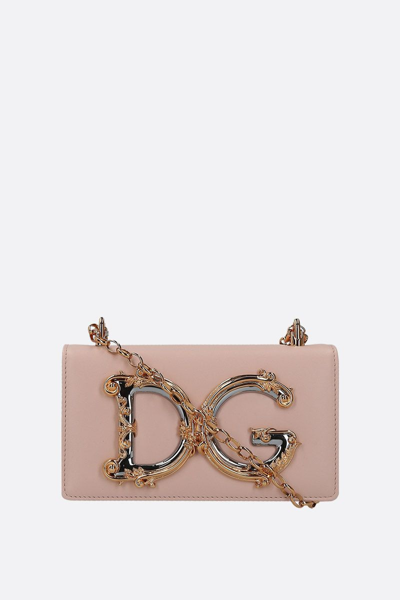 DOLCE & GABBANA: DG Girls smooth leather smartphone holder Color Pink_1
