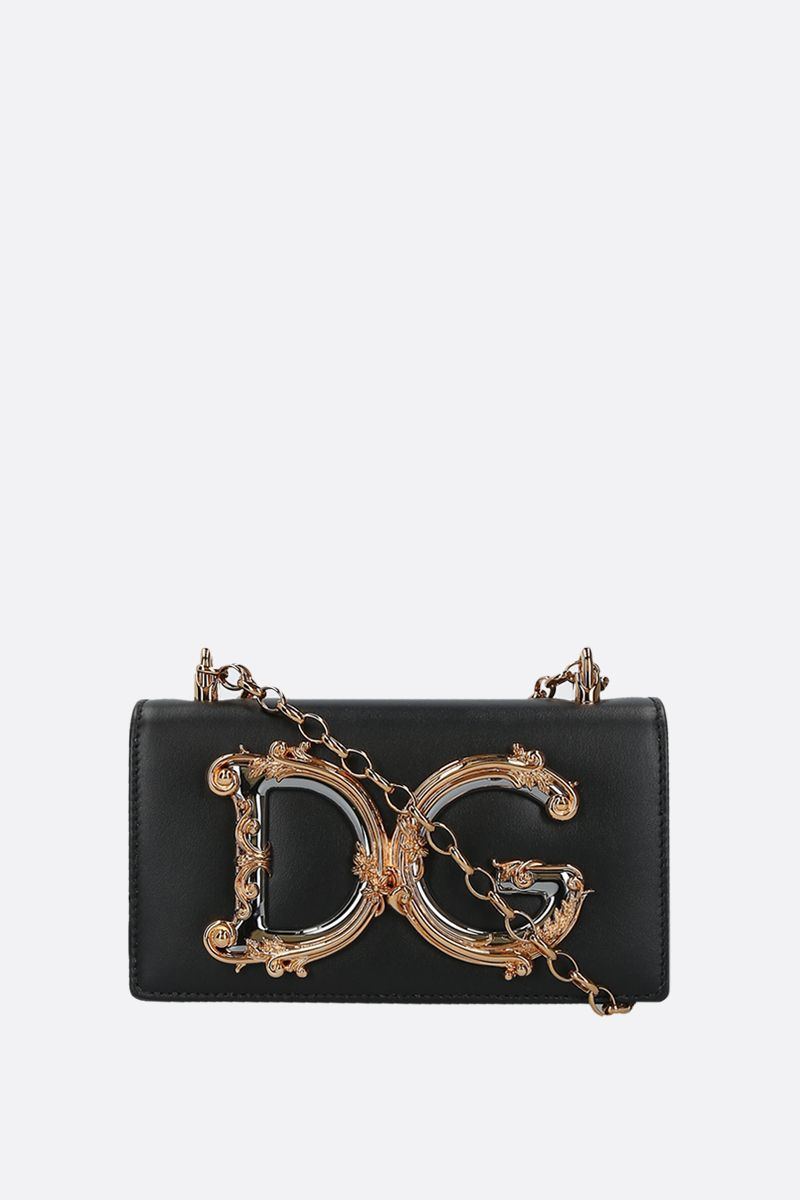 DOLCE & GABBANA: DG Girls smooth leather smartphone holder Color Black_1