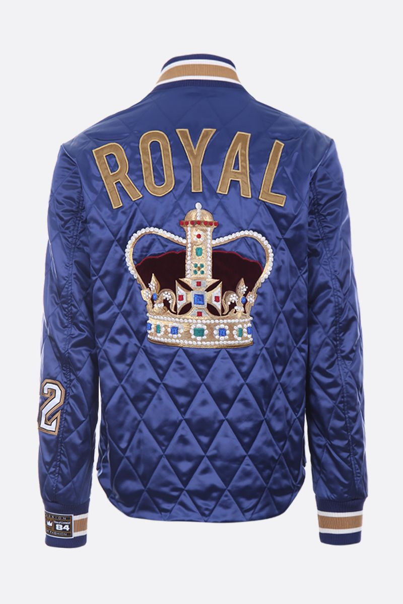 DOLCE & GABBANA: The King patch quilted satin bomber jacket Color Blue_2