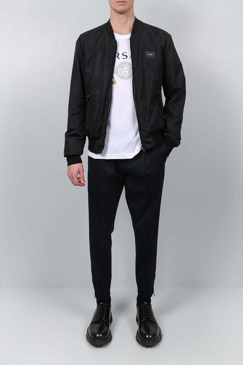 DOLCE & GABBANA: nylon padded bomber jacket Color Black_2