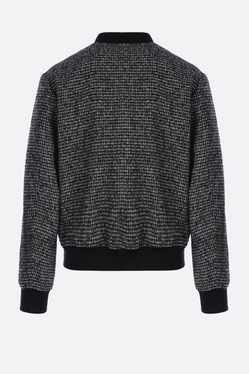 DOLCE & GABBANA: houndstooth wool blend bomber jacket Color Black_2