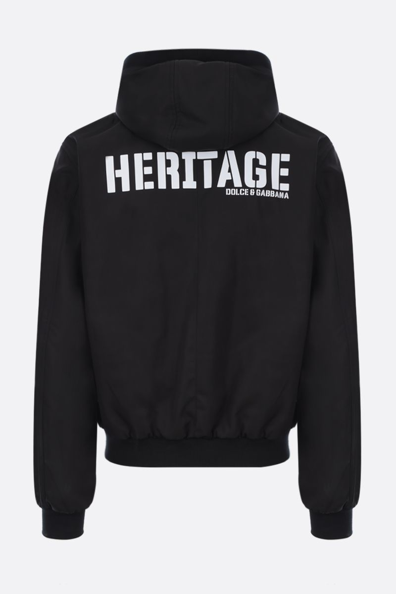 DOLCE & GABBANA: Heritage print nylon full-zip padded jacket Color Black_2