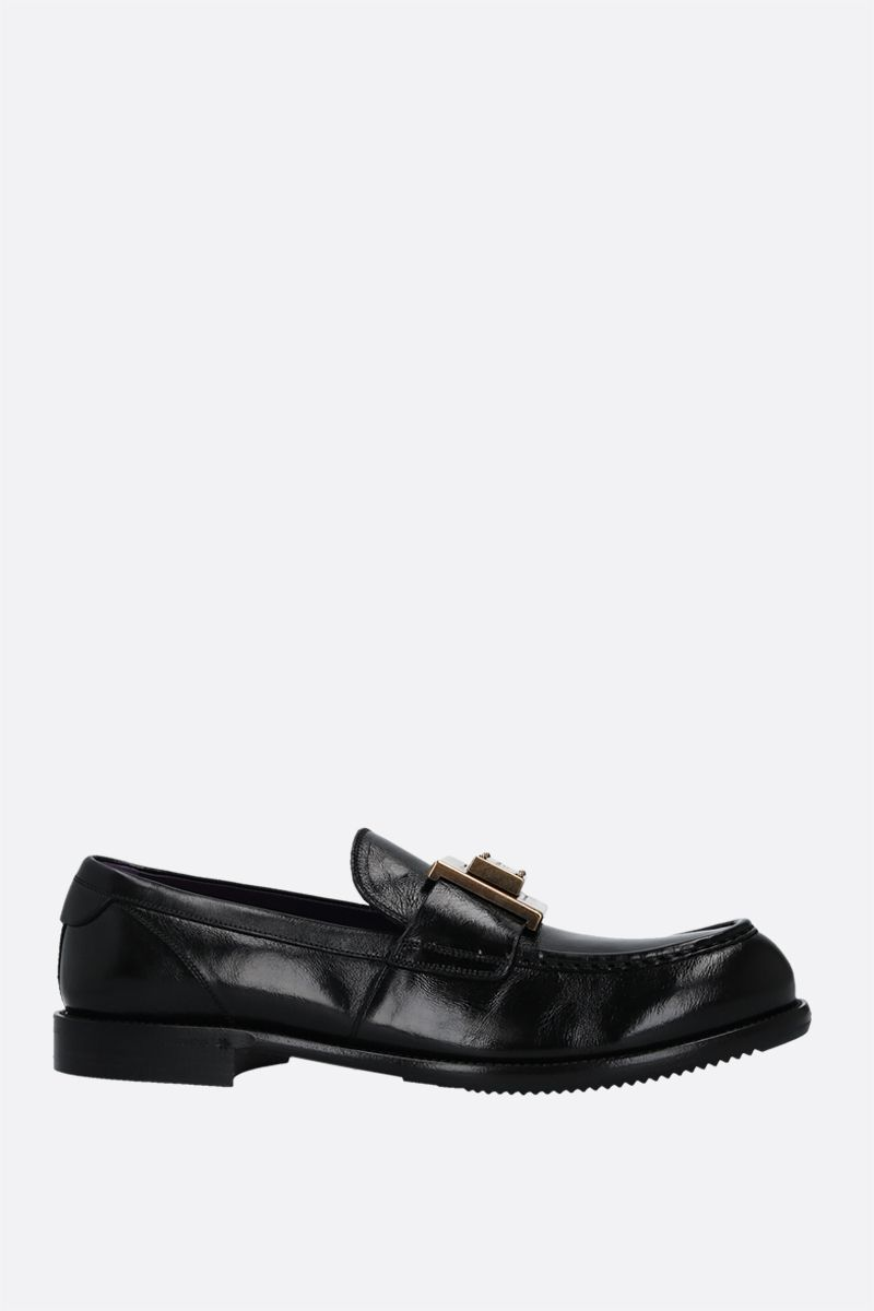 DOLCE & GABBANA: Mino shiny leather loafers Color Black_1