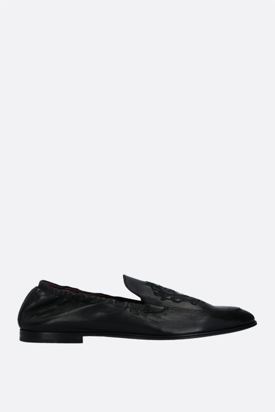 DOLCE & GABBANA: Plume smooth leather slippers Color Black_1