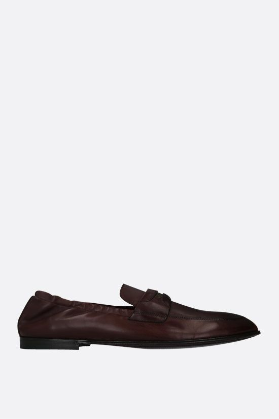 DOLCE & GABBANA: Plume smooth leather loafers Color Brown_1