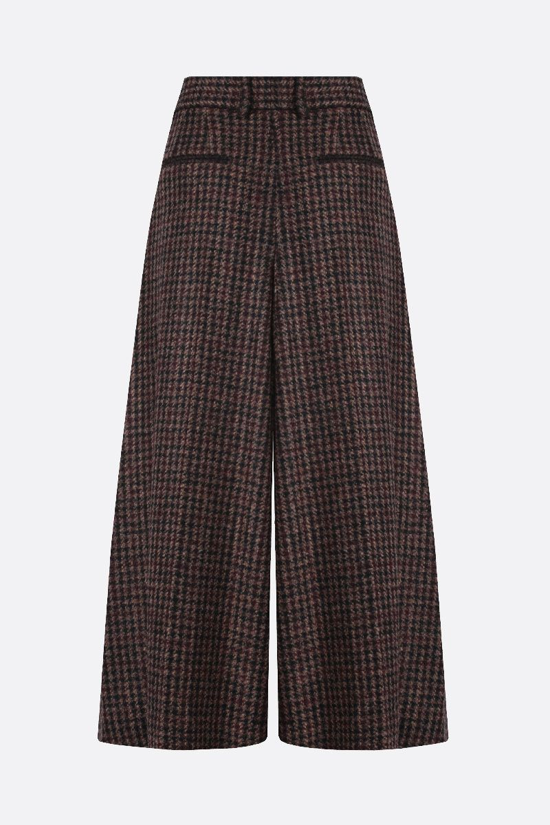 DOLCE & GABBANA: houndstooth-motif wool blend culottes pants Color Brown_2