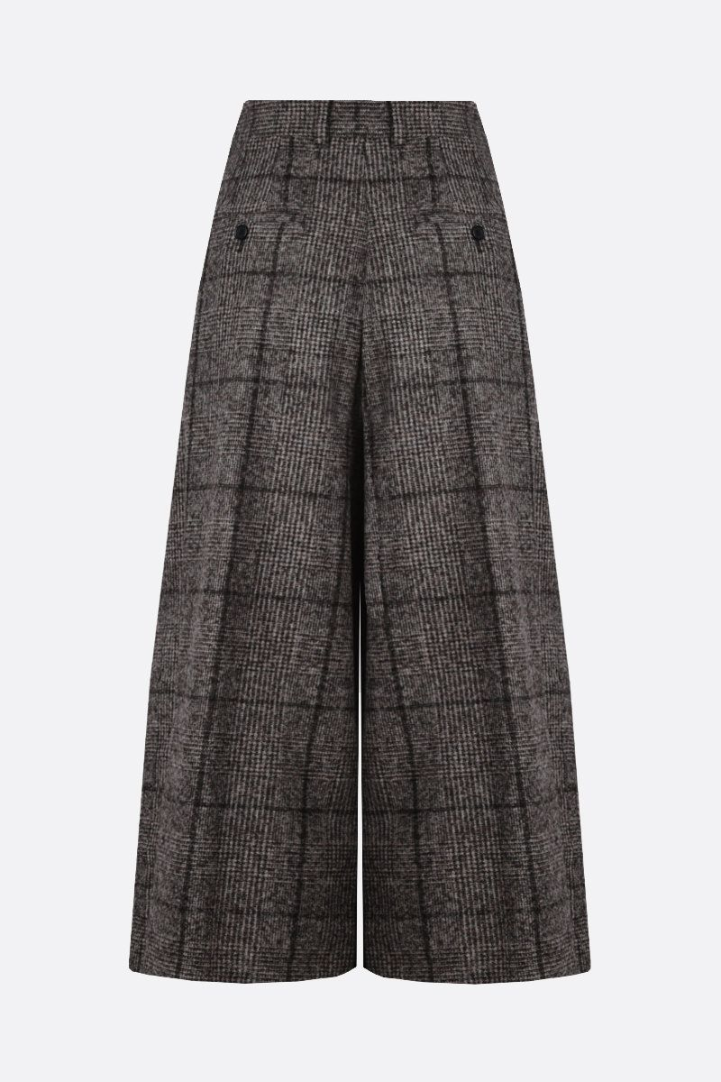 DOLCE & GABBANA: prince of Wales-motif alpaca blend culottes pants Color Grey_2