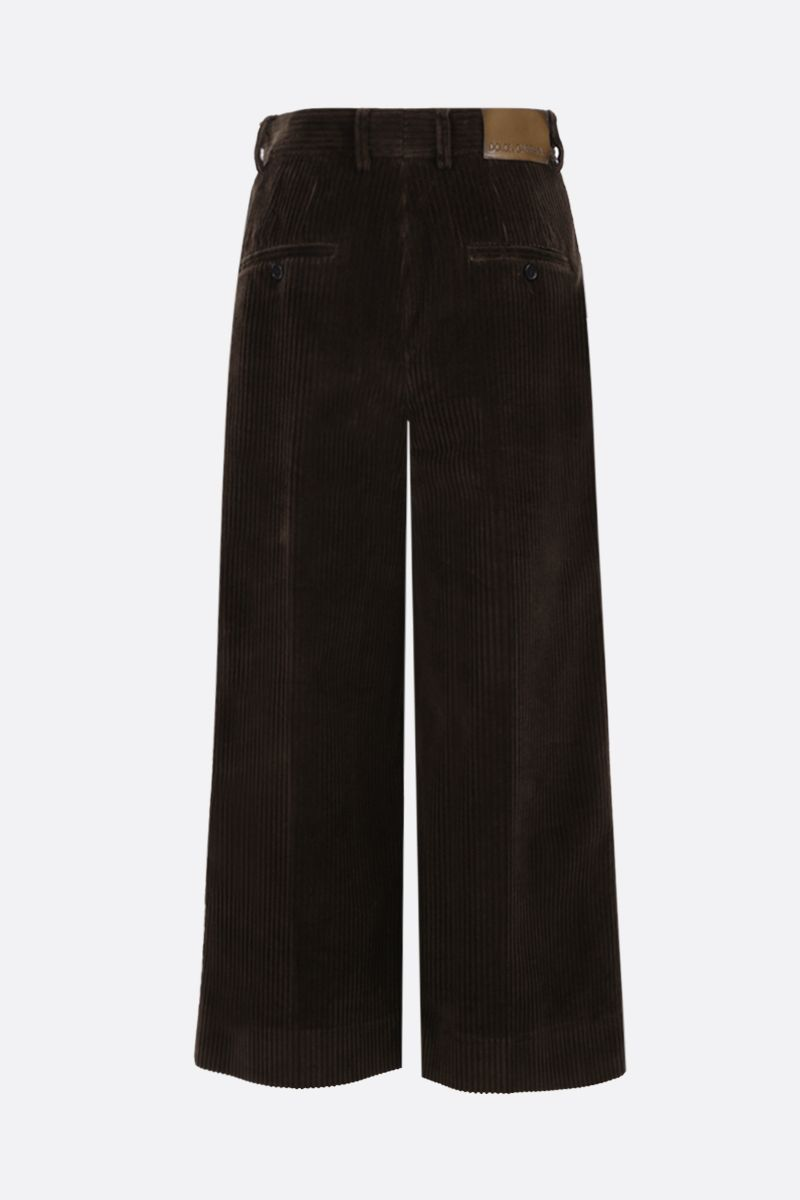 DOLCE & GABBANA: ribbed velvet culotte pants Color Brown_2