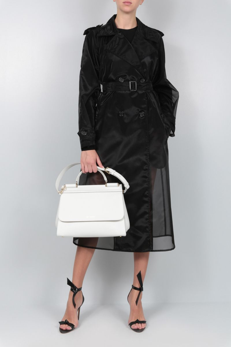 DOLCE & GABBANA: organdy double-breasted trench coat Color Black_2