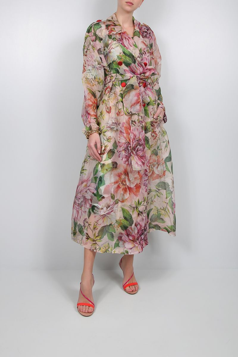 DOLCE & GABBANA: floral print organdy double-breasted trench coat_2