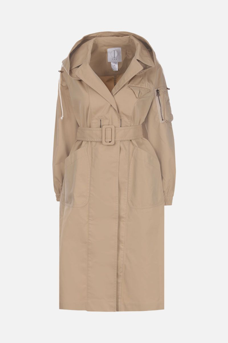 TRE by NATALIE RATABESI: technical cotton single-breasted trench coat Color Neutral_2