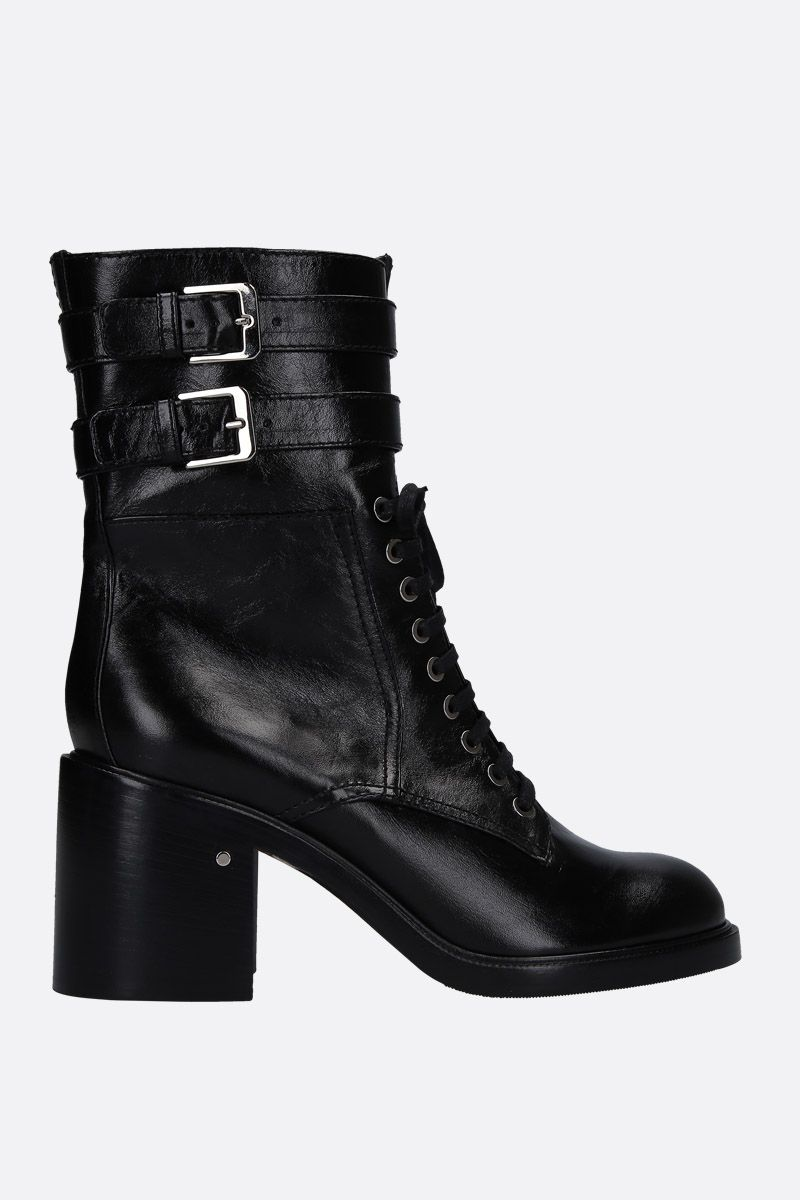 LAURENCE DACADE: Pilar lace-up boots in vintage leather Color Black_1