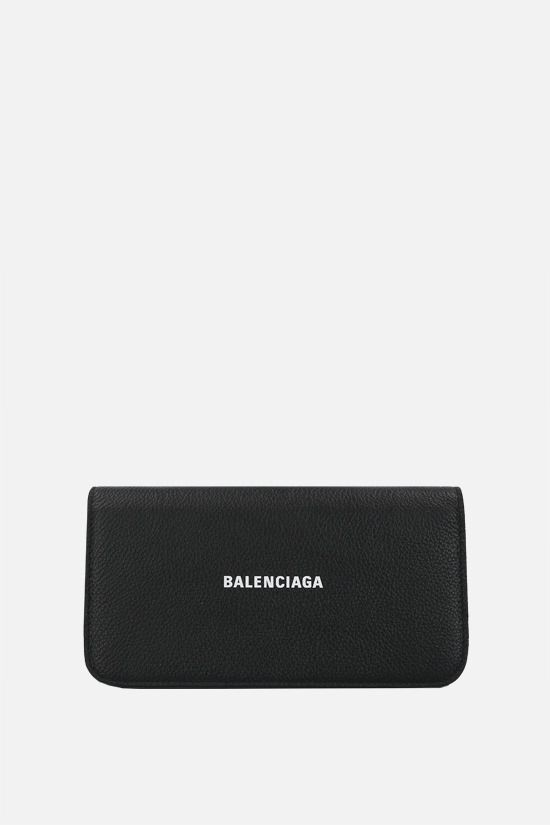 BALENCIAGA: Cash grainy leather smartphone holder Color Black_1