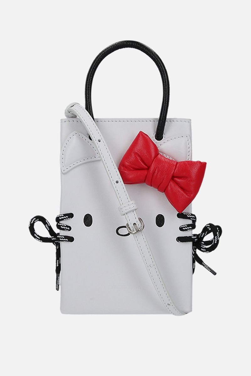 BALENCIAGA: Kitty smooth leather phone holder Color White_1
