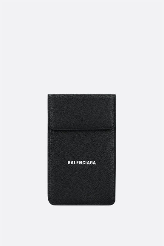 BALENCIAGA: grainy leather phone holder bag Color Black_1