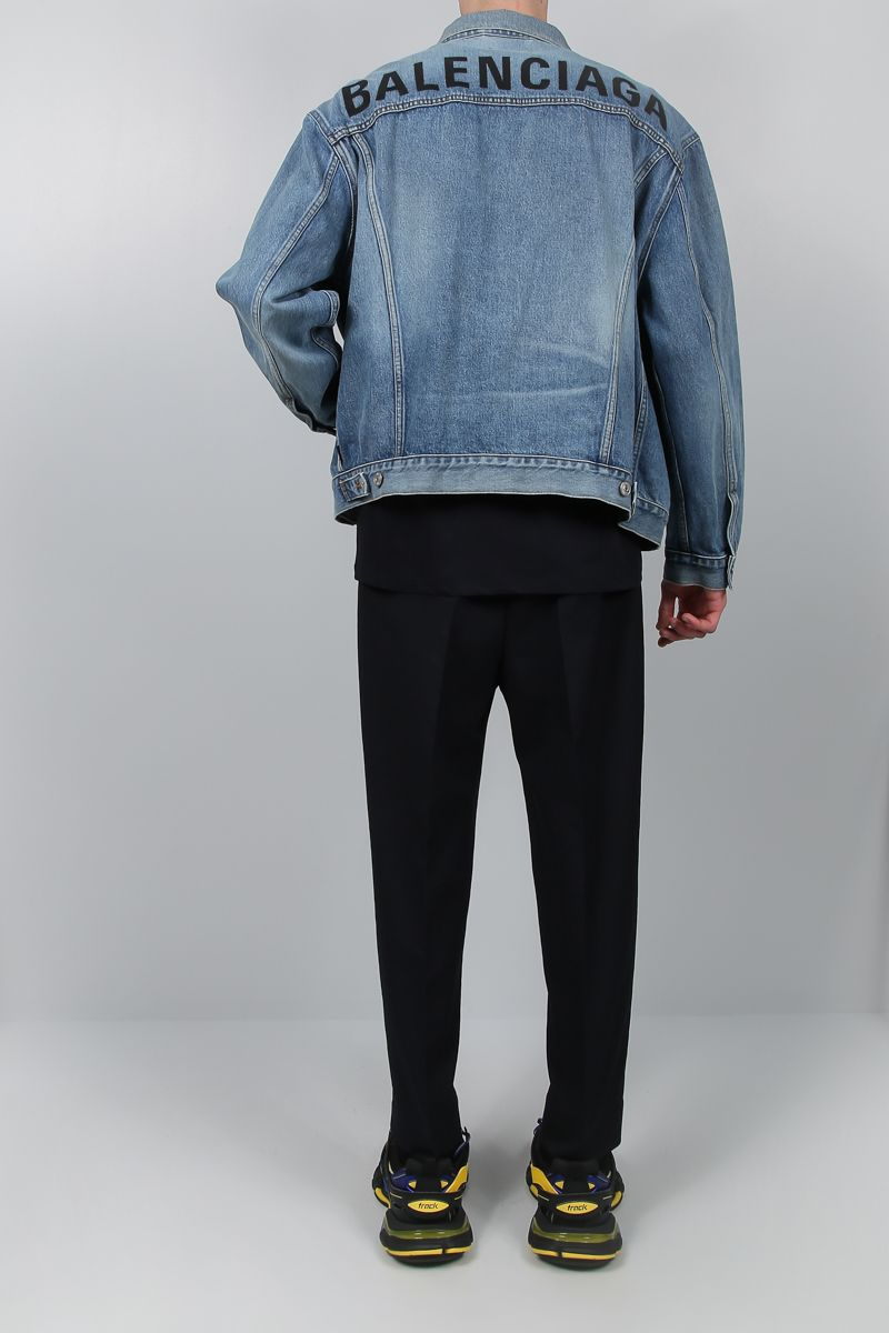 BALENCIAGA: logo embroidered denim jacket Color Blue_2