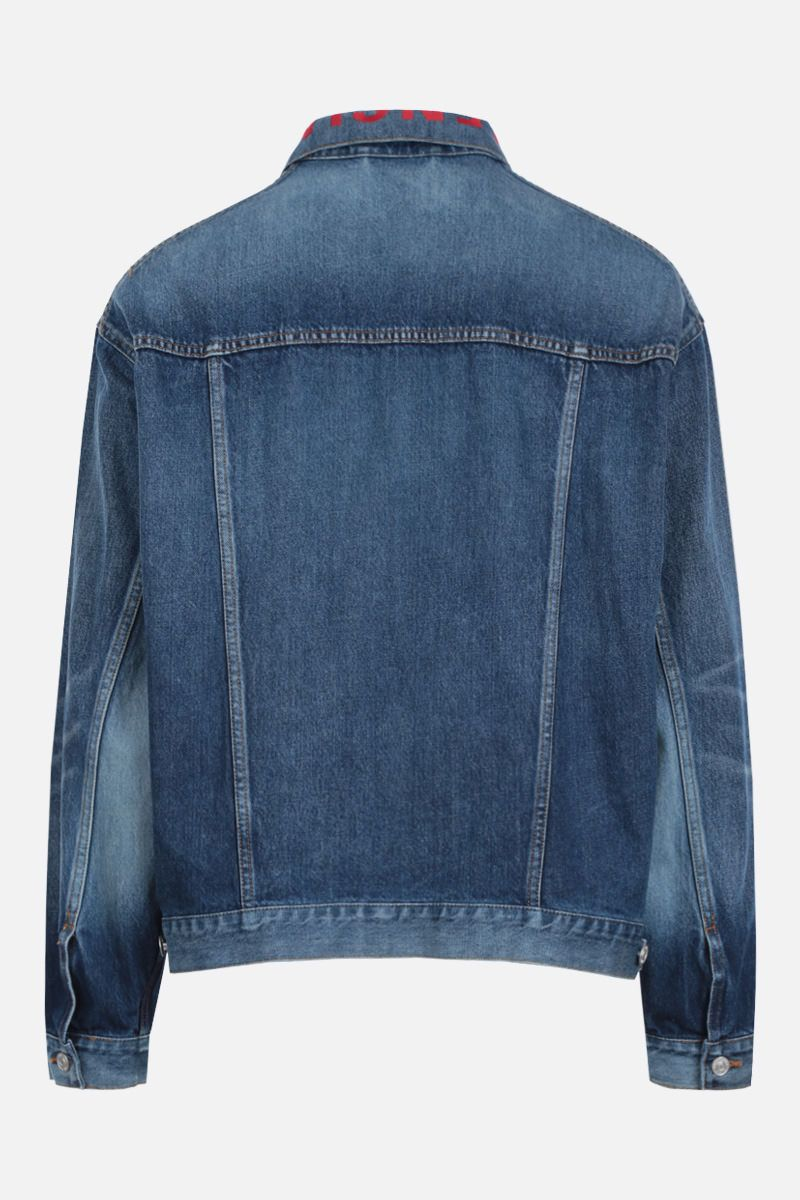 BALENCIAGA: logo embroidered denim oversized jacket_2