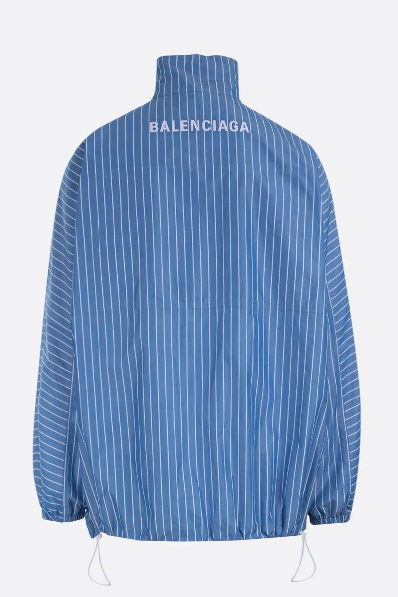 BALENCIAGA: striped poplin oversized windbreaker Color Blue_2