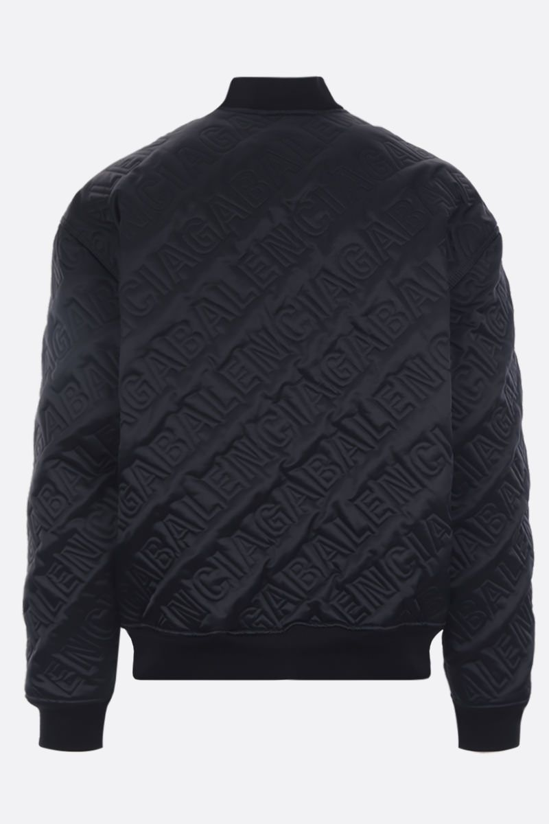 BALENCIAGA: quilted logo satin bomber jacket Color Black_2