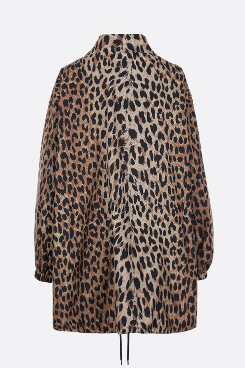 BALENCIAGA: leopard print nylon oversized windbreaker Color Neutral_3
