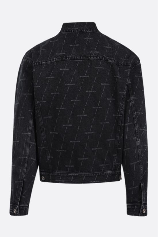 BALENCIAGA: logo print denim jacket Color Black_2