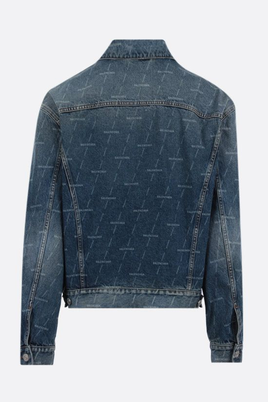 BALENCIAGA: logo print denim jacket Color Blue_2