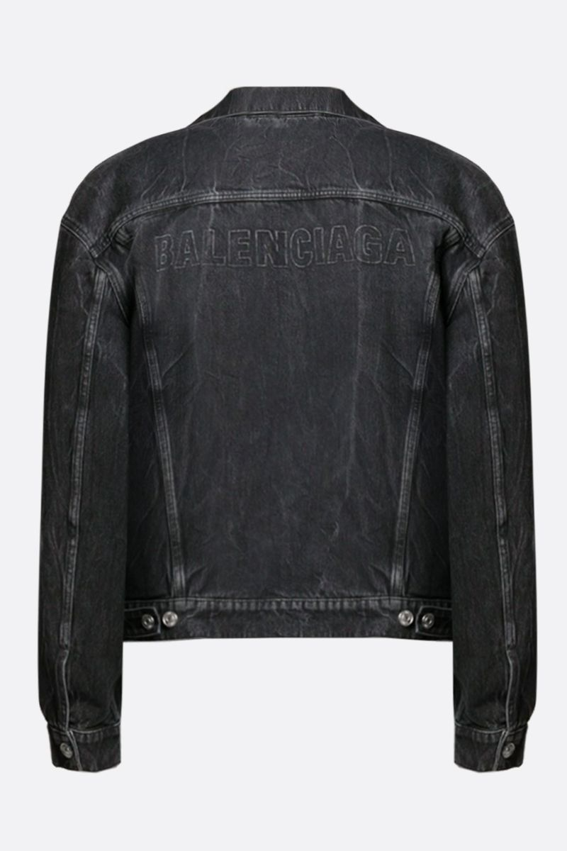 BALENCIAGA: logo print denim oversized jacket Color Black_2