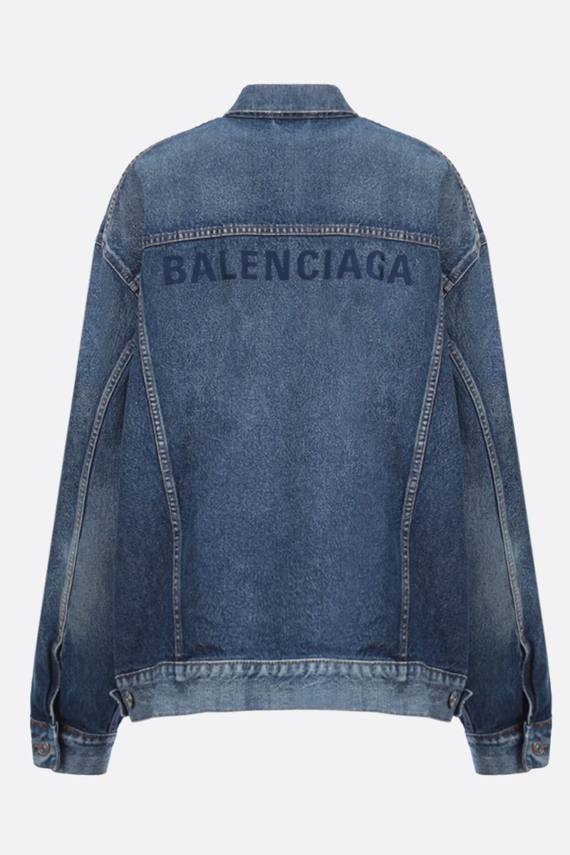 BALENCIAGA: Balenciaga embroidered denim oversize jacket_2