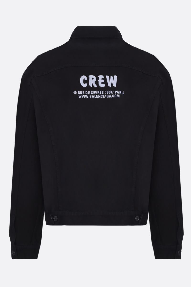 BALENCIAGA: Crew embroidered denim oversize jacket_2