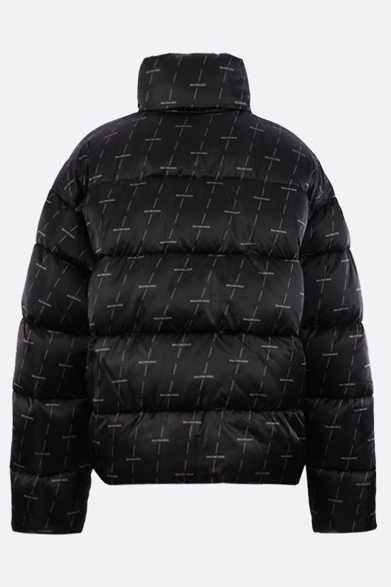 BALENCIAGA: logo print padded nylon jacket Color Grey_2