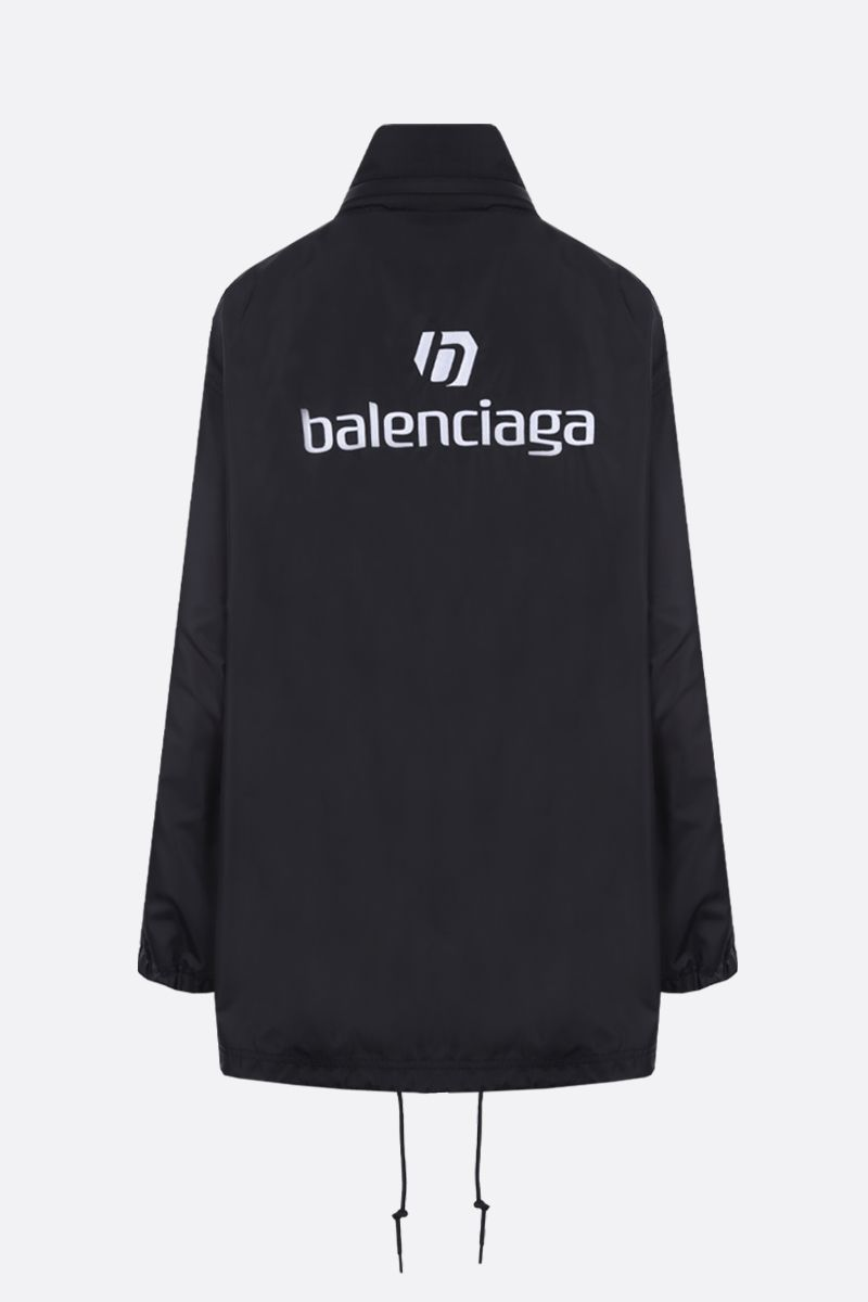 BALENCIAGA: oversize balenciaga embroidered nylon windbreaker Color Black_2